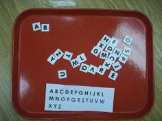 abc order - preschoolers will gain skills in reading from left to right; top to bottom as they put the letters in order. I suggest the sample be placed at the top of the tray.