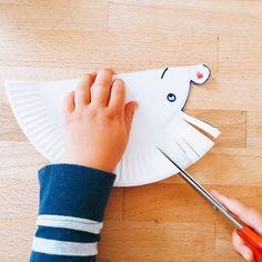Erste Schneideübungen - ein Igel aus Pappteller