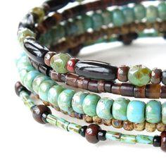 Beaded bracelet stack Boho turquoise brown tan & by dalystudios