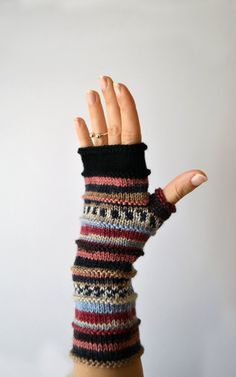 Black Friday Sale  Colorful Fingerless Gloves  by lyralyra on Etsy