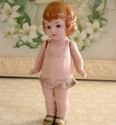 """5"""" Antique Jointed Bisque German Doll. Good foundation for girl with red coat"""