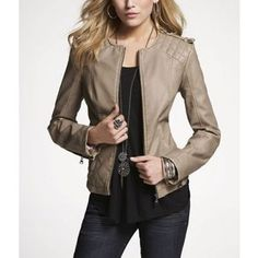 Express leather jacket... This baby even goes good with tights!!!!