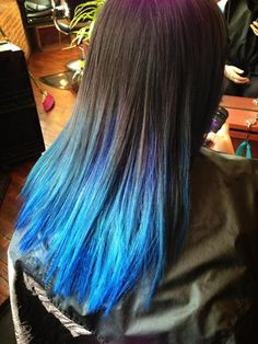 Black & Blue Ombre Hair I'm actually going to be doing this to my hair soon :)  but I'm either going to ask for a deeper blue or go turquoise.  I haven't decided yet.