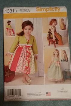 Simplicity Pattern 1331 sizes ½ to 4 Toddlers' Dresses and Bolero NEW FS