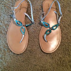 Nine West sandals Cute turquoise sandals. Comfortable for walking Nine West Shoes Sandals