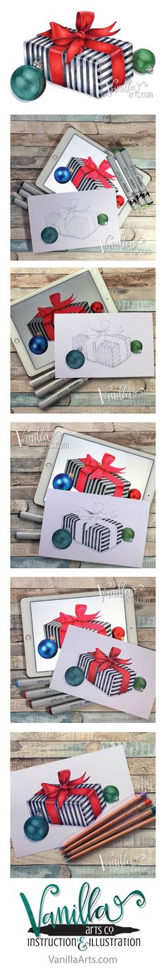 """Join the Free Digi Club to receive challenging stamp images designed for Copic, colored pencil, or watercolor. """"Satin Gift"""" Dec 2016 