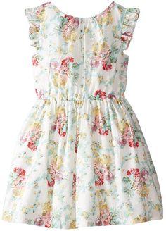 Laura Ashley London Little Girls' Floral Pinafore Dress, Multi, 2T
