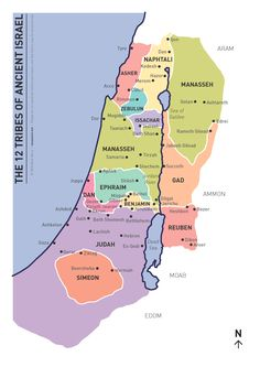 A map showing the land allotted to each of the twelve tribes of ancient Israel. PDF version(57 KB)