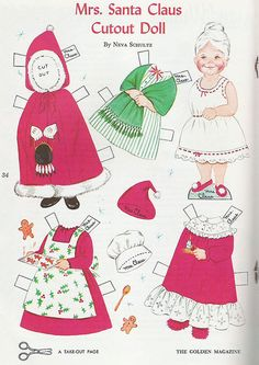 (⑅ ॣ•͈ᴗ•͈ ॣ)♡                                                          Paper doll Mrs. Santa