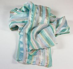Oblong Striped Scarf Pastel Colors 52 Inches Long by PastSplendors