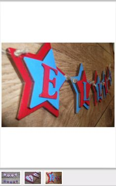 This wooden bunting is made using stars and letters.  How would you make yours?  Have a look at our wide variety of shapes at www.inf.co.uk