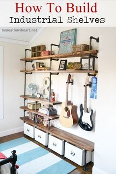 Industrial Shelves in Boys Room - Design Dazzle DIY! How to build Industrial Shelves in a Boys Room from Beneath my Heart! These shelves look so cool and are perfect for a teenage room! Diy Regal, Diy Casa, Home And Deco, My New Room, Home Projects, Crafty Projects, Diy Furniture, Reclaimed Furniture, Furniture Vintage