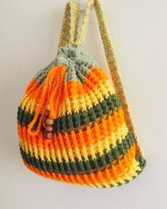 Crochet multicolored kids backpack, crochet striped spring/summer backpack, crochet kids backpack 2013. $40.00, via Etsy.