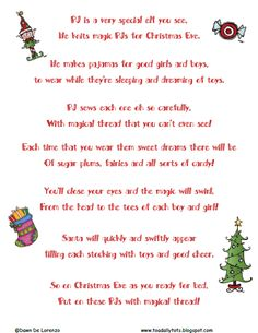 Pajama elves poem - the kids are getting the Christmas pajamas tonight and then we are going to look at Christmas lights