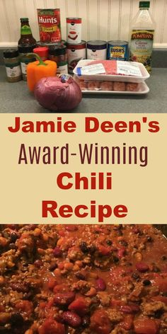 Our family loves Jamie Deen's award-winning chili recipe. Made with sausage, beef, 3 beans, and the secret ingredient -- beer! Made on the stovetop; great for a large crowd. family How to Make Jamie Deen's Award-Winning Chili Recipe with Beer Beef Chili Recipe, Chilli Recipes, Beef Recipes, Mexican Food Recipes, Cooking Recipes, Dinner Recipes, Homemade Chili Beans Recipe, Secret Chili Recipe, Best Chili With Beans Recipe