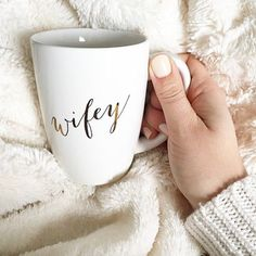 Love our Wifey apparel? Then you need our Wifey Mug to complete your collection. Sip your favorite tea, coffee or even hot coco with our gold printed Wifey mug. Perfect as a gift too! Wedding Engagement, Our Wedding, Dream Wedding, Engagement Parties, Camo Wedding, Wedding 2017, Engagement Ideas, Purple Wedding, Trendy Wedding