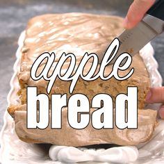 Apple Bread Apple Bread This easy apple bread tastes like fall! Chopped apples fill the batter baking the bread up tender and moist. Drizzle cinnamon glaze over the top! Apple Recipes, Gourmet Recipes, Bread Recipes, Dessert Recipes, Cooking Recipes, Cooking Games, Cooking Classes, Fall Recipes, Snack Recipes