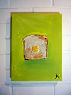 Wheat Toast Blob Acrylic Painting 9x12 by LoganBerard on Etsy, $40.00