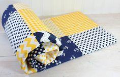 Baby Boy Blanket, Fleece Blanket, Anchor Crib Bedding, Photography Prop, Nautical Nursery Decor, Yellow Navy Blue Chevron Nautical Anchors on Etsy, $52.50