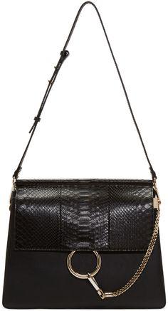 CHLOÉ Black Python Medium Faye Bag.  chloé  bags  shoulder bags  lining d6efa86af213b
