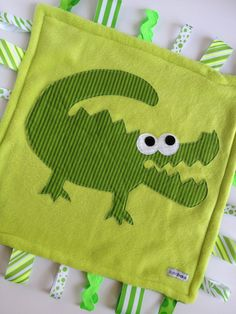 Minky Fleece Tag Blanket Alligator, Crocodile in Green