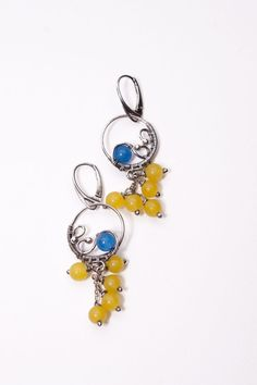 Chauntea - handmade wire wrapped fine and sterling silver earings with blue & juicy yellow jade beads,summer style,boho,beach,wire wrapping