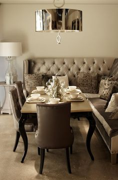 I want a bench like seating area in my kitchen similar to this picture... also LOVE the velvet gray look.