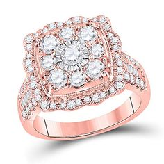 14kt Rose Gold Round Diamond Square Flower Cluster Ring for Women 2 Cttw Tiea Jewels Engagement Rings Canada, Round Solitaire Engagement Ring, Wedding Engagement, Rose Gold Apple Watch, Diamond Cluster Ring, Diamond Settings, Wedding Ring Bands, Round Diamonds, 3 Carat