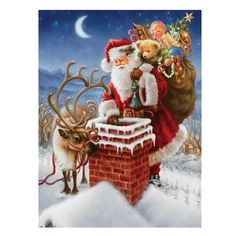 Whitelotous Santa Claus on Chimney 5D Diamond Painting Embroidery DIY Paint-By-Number Kit Home Wall Decor 12 x 16 Inch -- Awesome products selected by Anna Churchill