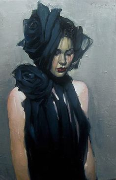 """Behind the Veil"" - Malcolm Liepke, b. 1954, oil on canvas {contemporary figurative beautiful female black dress woman face portrait painting #loveart}"