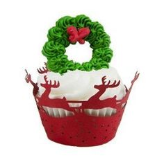 12pcs Christmas Cupcake Wrappers by mooncakeshop on Etsy, $10.00