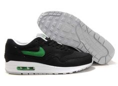 2013 New Mens Nike Air Max 1 Black Victory Green White Shoes Running Shoes  Shop 095c6859f