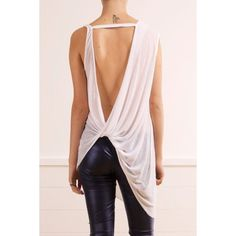 Stylish Skew Neck Solid Color Backless Knotted Asymmetric Tank Top For Women - WHITE XL