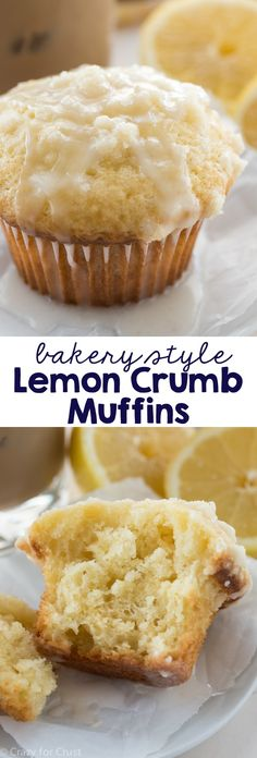 Lemon Crumb Muffins - an easy recipe for breakfast! Lemon muffins with a crunchy crumble topping - better than a bakery!