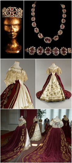 "Court dress (by Piero Tosi), tiara and amethyst set, from the movie ""Ludwig"" (1972). Worn by Izabella Telezynska in the role of the ""Queen Mother"" for the scene depicting Ludwig II of Bavaria's 1864 coronation. Photos courtesy of la_gatta_ciara on LiveJournal."