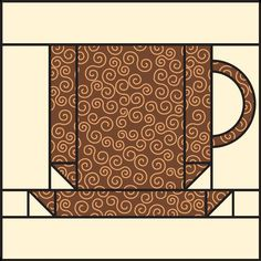 Free coffee-cup quilt block pattern ~ use for Star's mug rug! Mug Rug Patterns, Quilt Block Patterns, Pattern Blocks, Quilt Blocks, Small Quilts, Mini Quilts, Scrappy Quilts, Paper Piecing Patterns, Barn Quilts