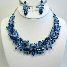 Blue flower crystal rhinestone set #beautiful #crystal #rhinestone #jewelry for #weddings #proms #pageants or any #event #bridesmaids #gift #bride #costumejewelry #accessories #sparkle Jewelry Necklaces