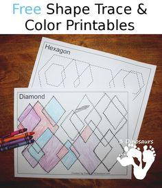 Free Shape Trace & Color Printables - 13 different shapes - 3Dinosaurs.com