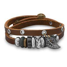 Leather Fashion Wrap Design Multibead Bracelet