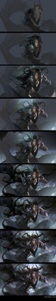 Photos of Huang Guangjian - micro album Digital Painting Tutorials, Digital Art Tutorial, Art Tutorials, Painting Process, Process Art, Drawing Process, Fantasy Illustration, Digital Illustration, Paint Photoshop