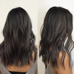 charcoal and ash tones on dark hair! balayge charcoal and ash tones on dark hair! Ash Blonde Hair, Ombre Hair, Grey Ash Brown Hair, Medium Ash Brown Hair, Black Hair Grey Highlights, Medium Lenth Hair, Dark Brown Lob, Cool Tone Brown Hair, Loose Curls Medium Length Hair
