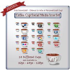 Freebie | Design Corner | Coffee Cup Social Media Icons