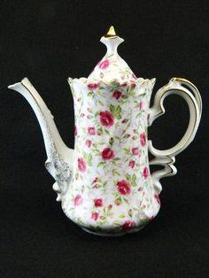 Vintage Porcelain Lefton Pink Rose Chintz Chocolate Coffee Tea Pot Teapot NE660 | eBay