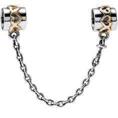 Heart Safety Chain  Keep your beloved charm bracelet extra safe with this beautiful, two-tone safety chain. Crafted from sterling silver with 14K gold heart details. 2 in :: 5 cm