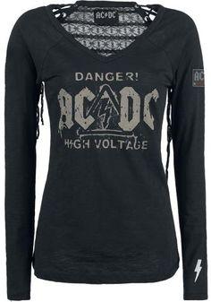 Originálne tričko AC/DC  Šnúrovanie na zadnej strane a nášivka na rukáve.