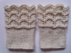 Boot toppers, boot cuffs, leg warmers, lace and cable pattern Lace Boot Cuffs, Knitted Boot Cuffs, Knit Boots, Boot Toppers, Knitting Projects, Leg Warmers, Hand Knitting, Knit Crochet, Knitting Patterns