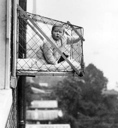 Patented in the United States in 1922 and popular in 1930's London, the baby cage was intended for city folk whose kids weren't getting enough fresh air and sunshine