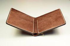 Carpeta de Color marrón cuero monedero Slim de los hombres