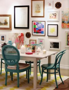 white table, turquoise chairs
