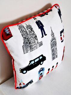 London Themed Cushion Cover Pillowcase PIllow Cover 16x16